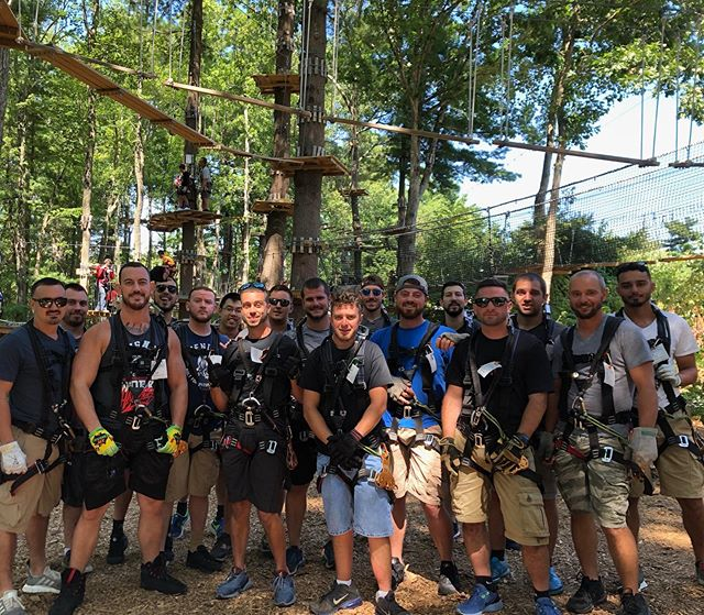 Perfect day for a Bachelor Party! Zip-lining, climbing and then heading down to Providence for some Food & Drinks! Congrats Cameron on you upcoming wedding! 🎩 🍻 #bachelorparty #boston #rhodeisland #thingstodoinboston #ropescourse #adventurepark #getoutside #bachelorette #treetopcanton