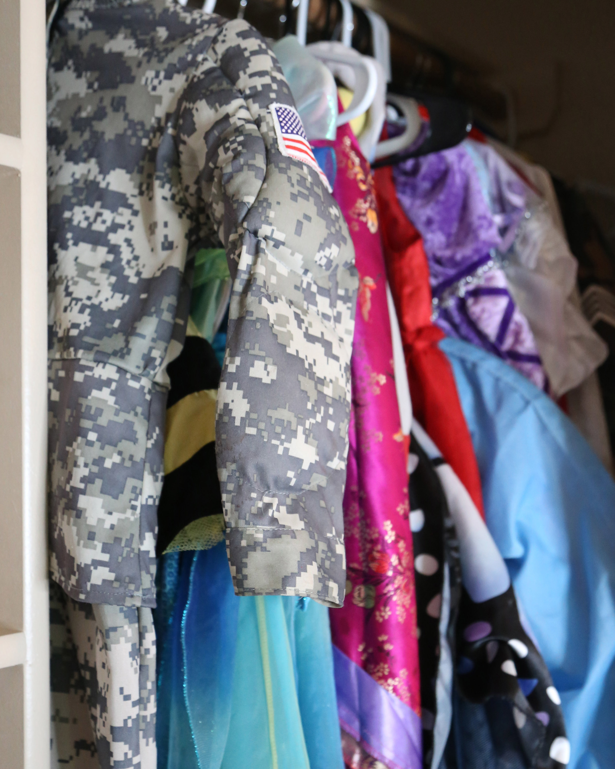 DRESS UP CLOSET: I've collected costumes for years and this closet gets a lot of action.    Hats, Wigs, Shoes, Accessories, Costumes for all sizes (even adults).    I love to check out thrift stores for funny things and kids consigment shops at Halloween time to freshen up the old dress up closet.