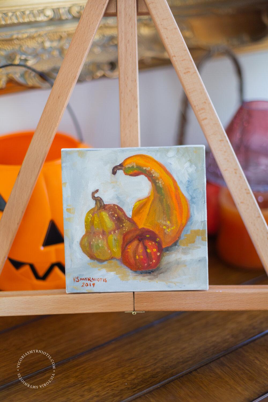 Original Oil Painting of Pumpkin Still Life by Victoria Smyrniotis