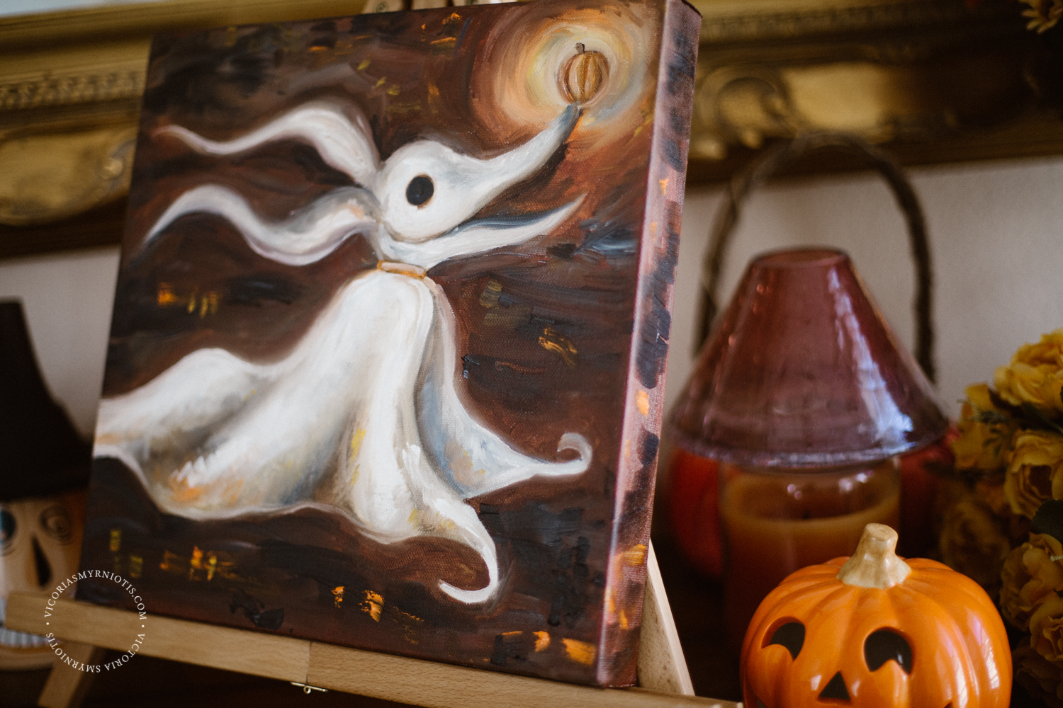 Zero from Nightmare Before Christmas Oil Painting on 12x12 stretched canvas Victoria Smyrniotis