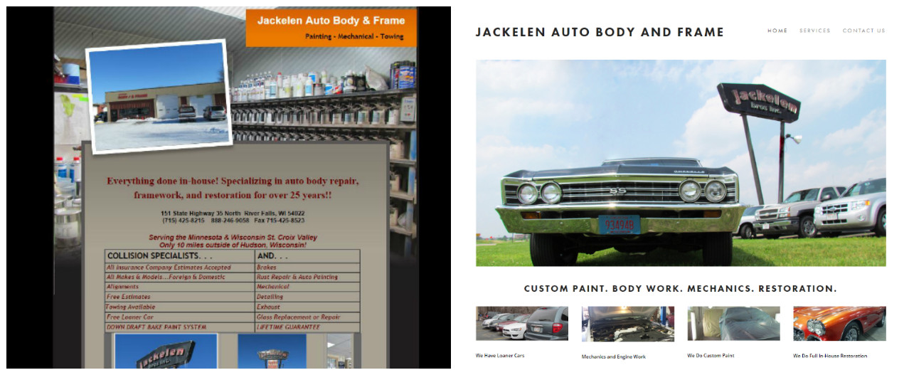 brook maier - web design - before and after - jackelenautobody.PNG