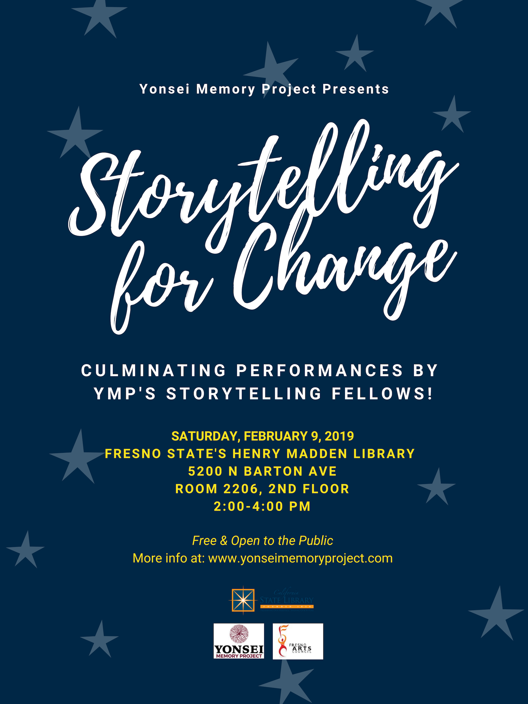 Image: Storytelling for Change event flyer for Feb 9, 2019, 2-4pm at the Henry Madden Library, Fresno State.