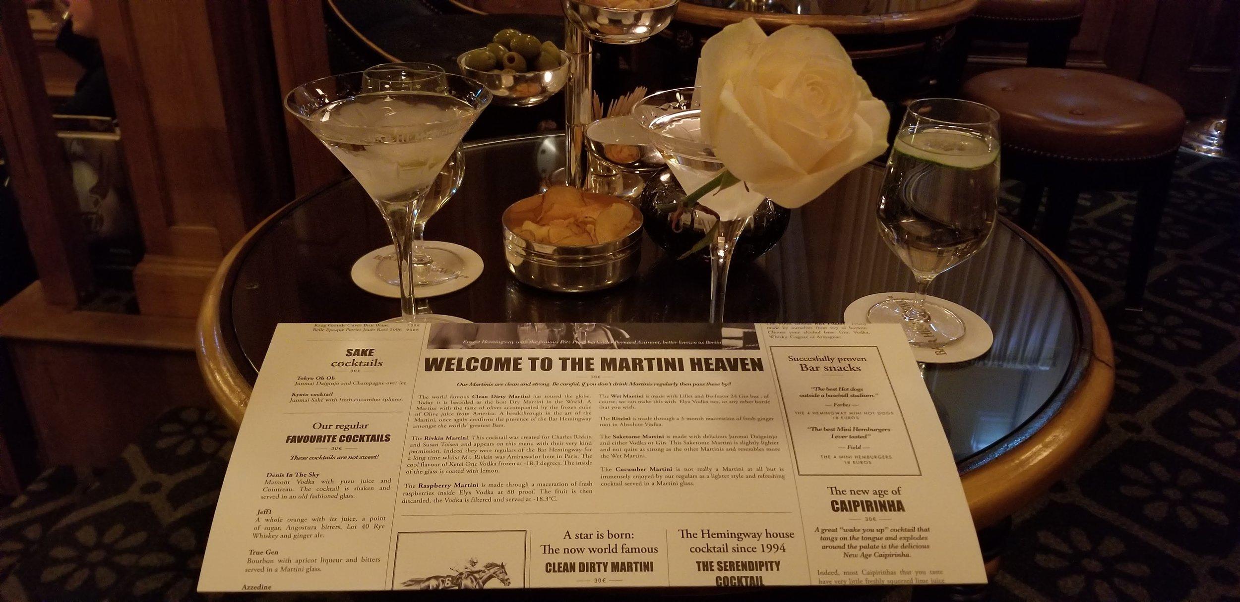 Martini Heaven @Hemingway Bar: The Rivkin & Clean Dirty Martini Reunitedco