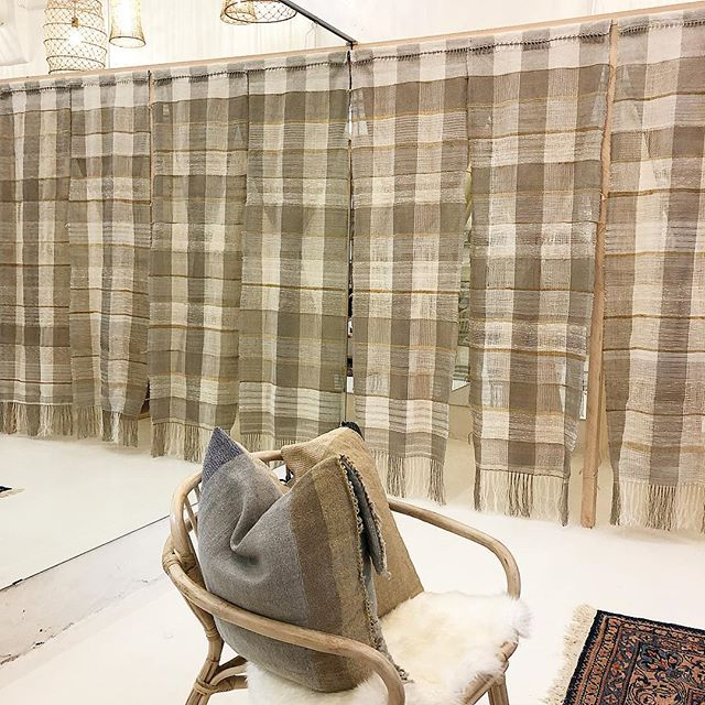 ADHOC Dressing Room Panels and Pillow Slips designed and handwoven by CLOTH TONE using raw linen, hemp, cotton, wool 2019