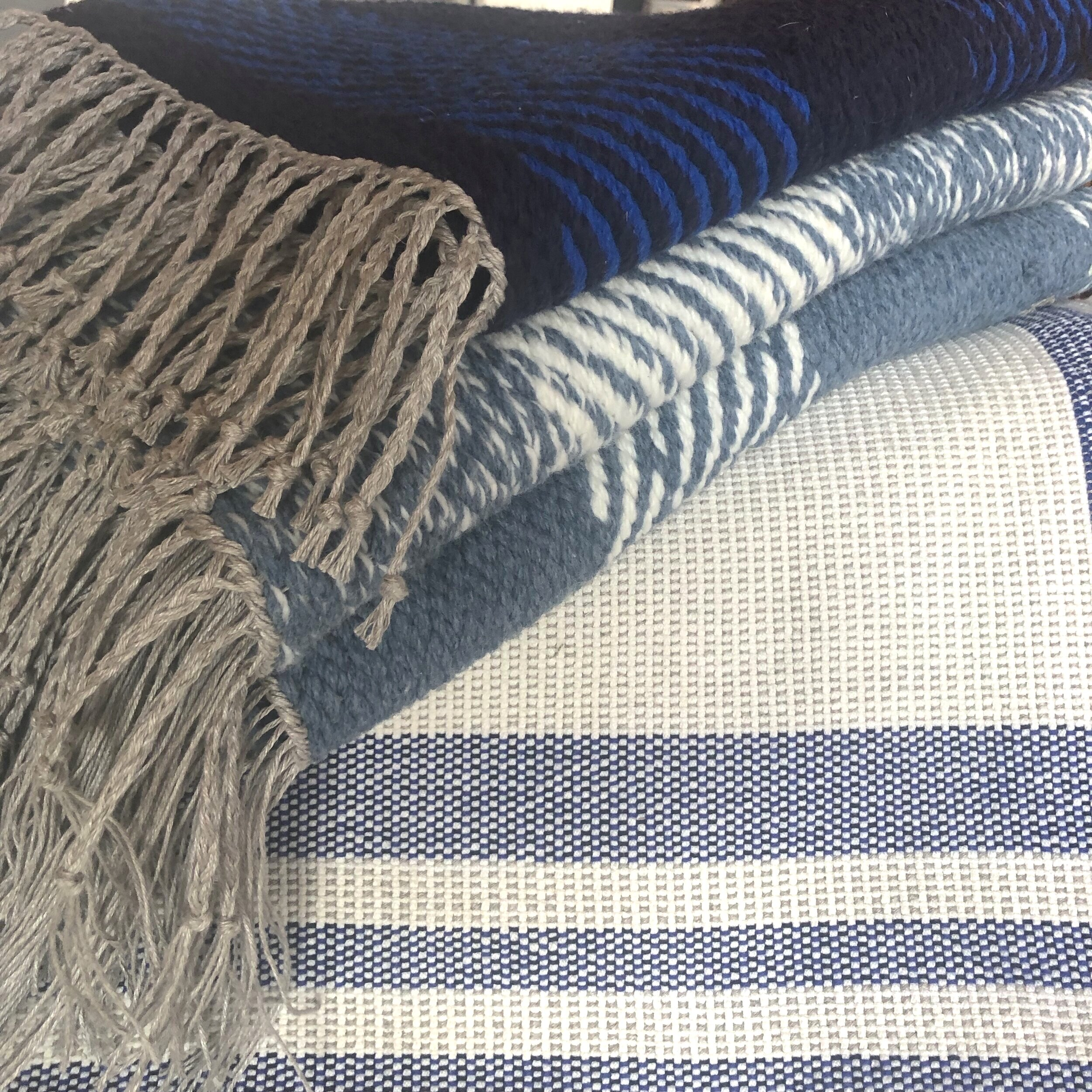 100 % Western Canadian Wool and raw linen  Cerulean Rug Series  available at ADHOC Penticton!