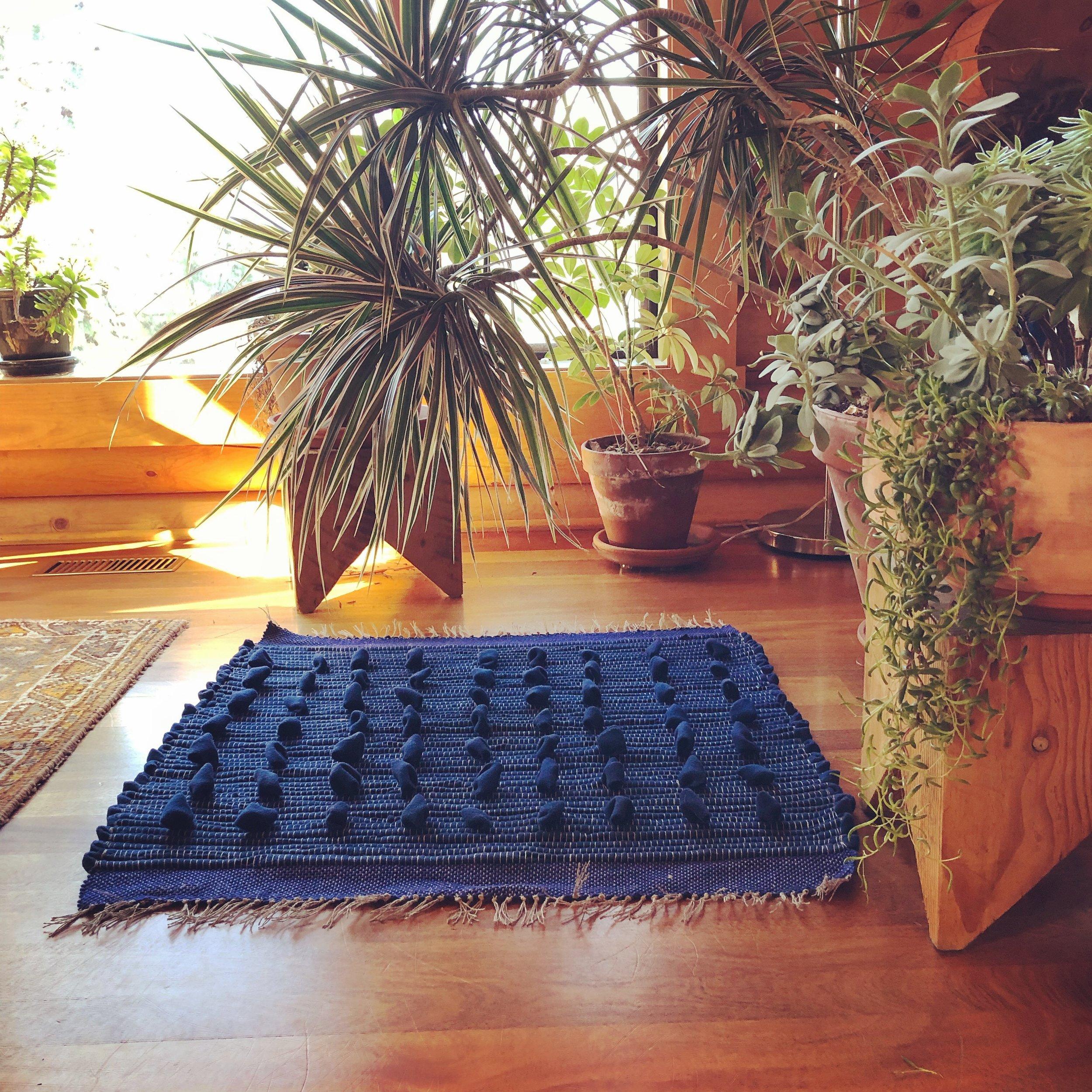 """""""Blue Oceans"""" wool rag rug"""