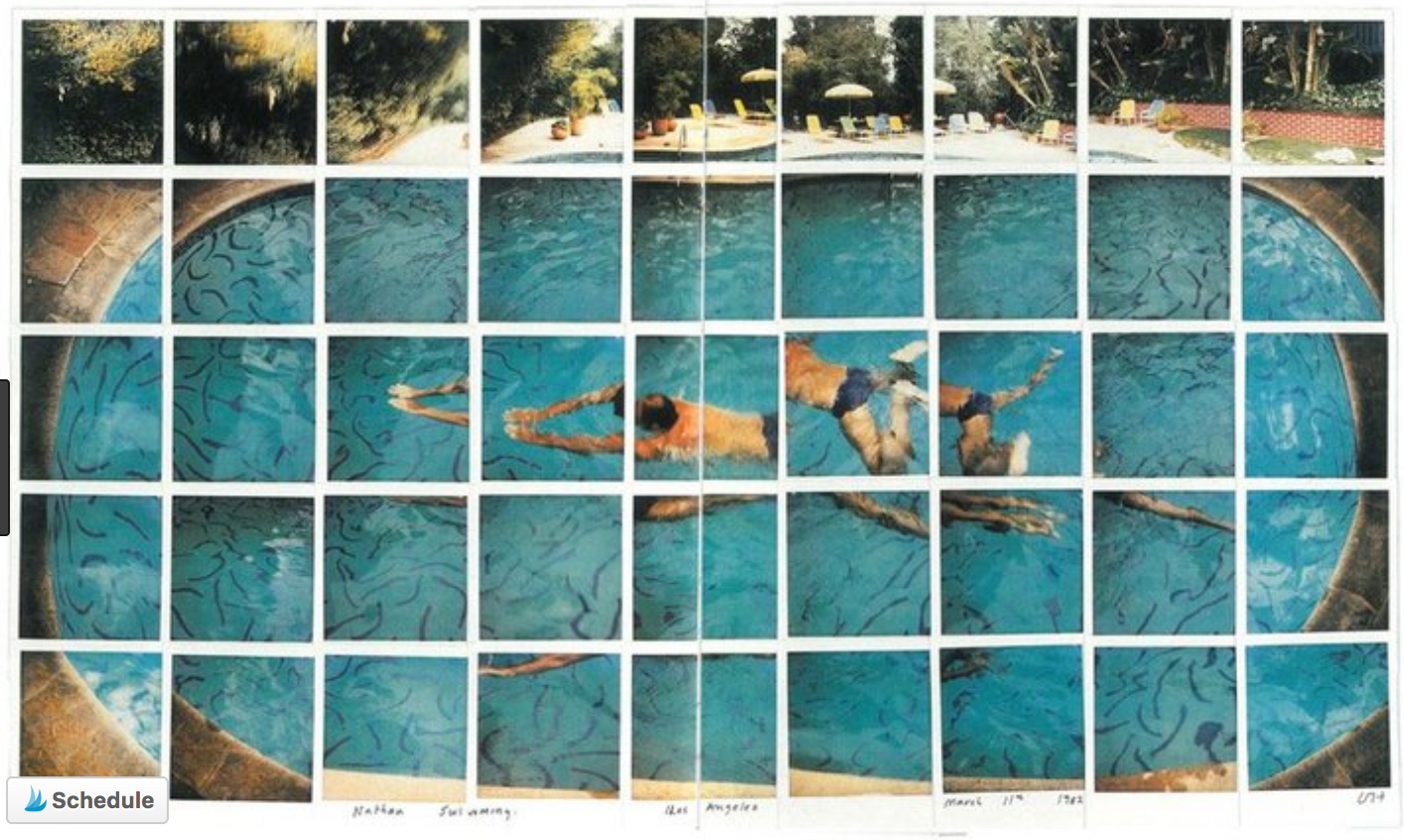 Nathan Swimming Los Angeles, by David Hockney  source: Pinterest