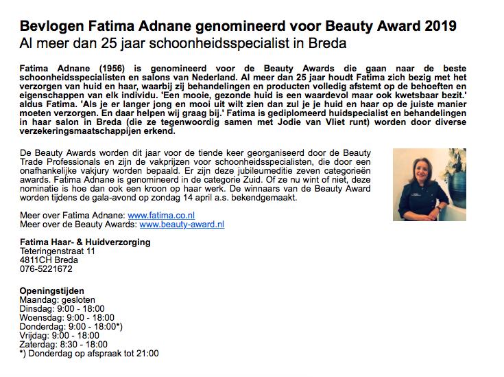 Persbericht, Fatima genomineerd voor Beauty Award 2019