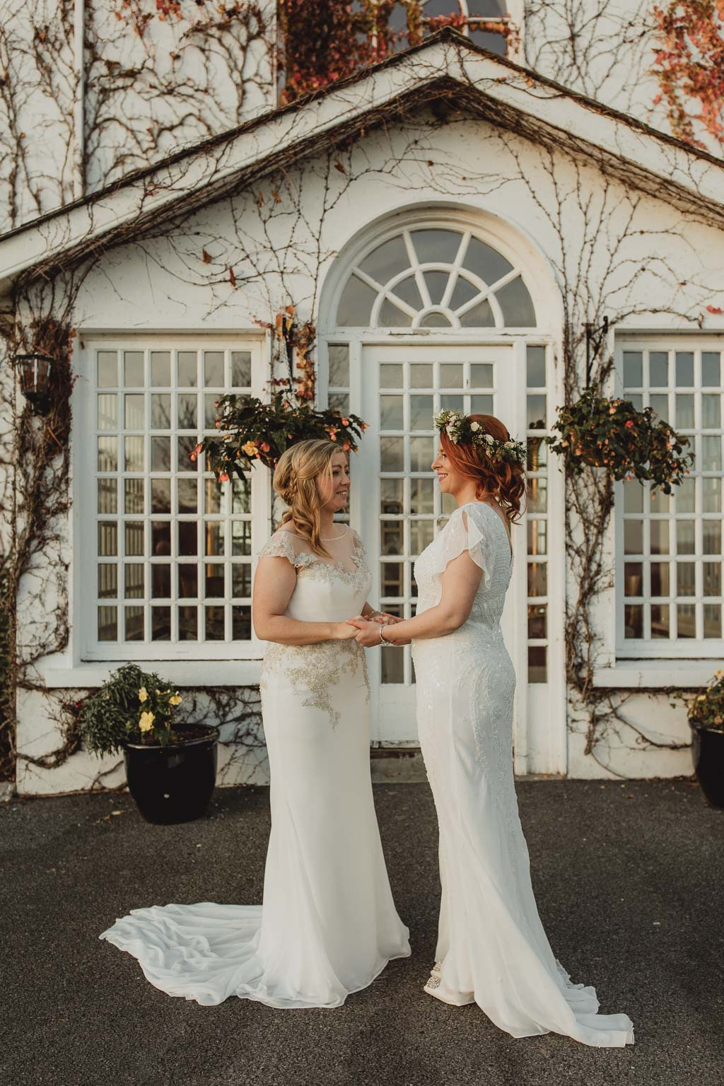 couple posing for their wedding photographer at crover house