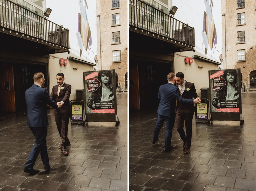 gay couple dancing at their wedding day in dublin city