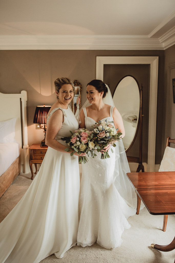 clonabreany house wedding, two brides smiling