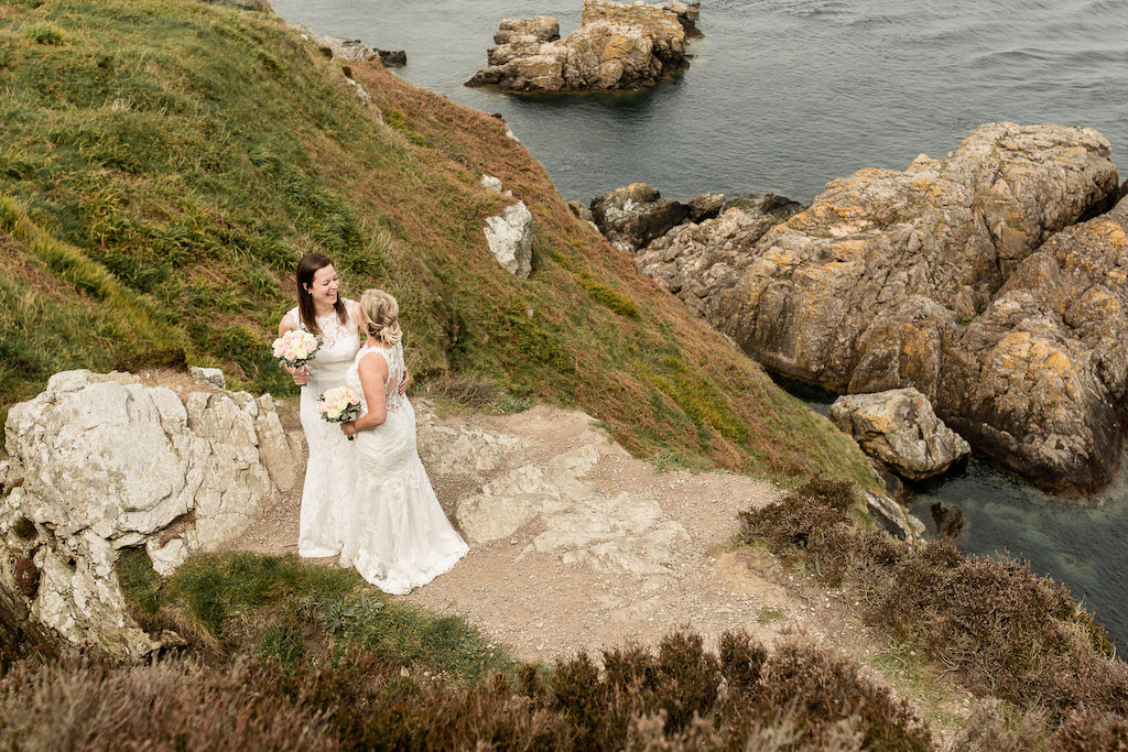 Eloping in Ireland. Photo shoot of a married lesbian couple in Howth, Dublin