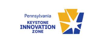Keystone Innovation Zone logo with keystone in yellow and blue
