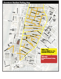 Yellow = eligible for a resident permit Red = resident permit parking