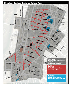 Gray = eligible for a business permit Red/Blue = business permit parking