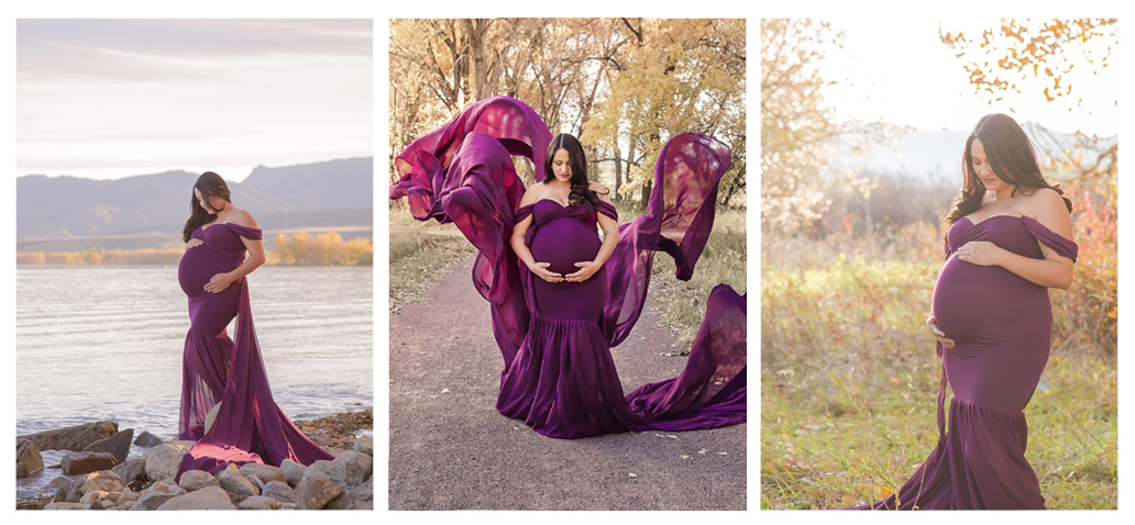 fall maternity session outdoor at sunset