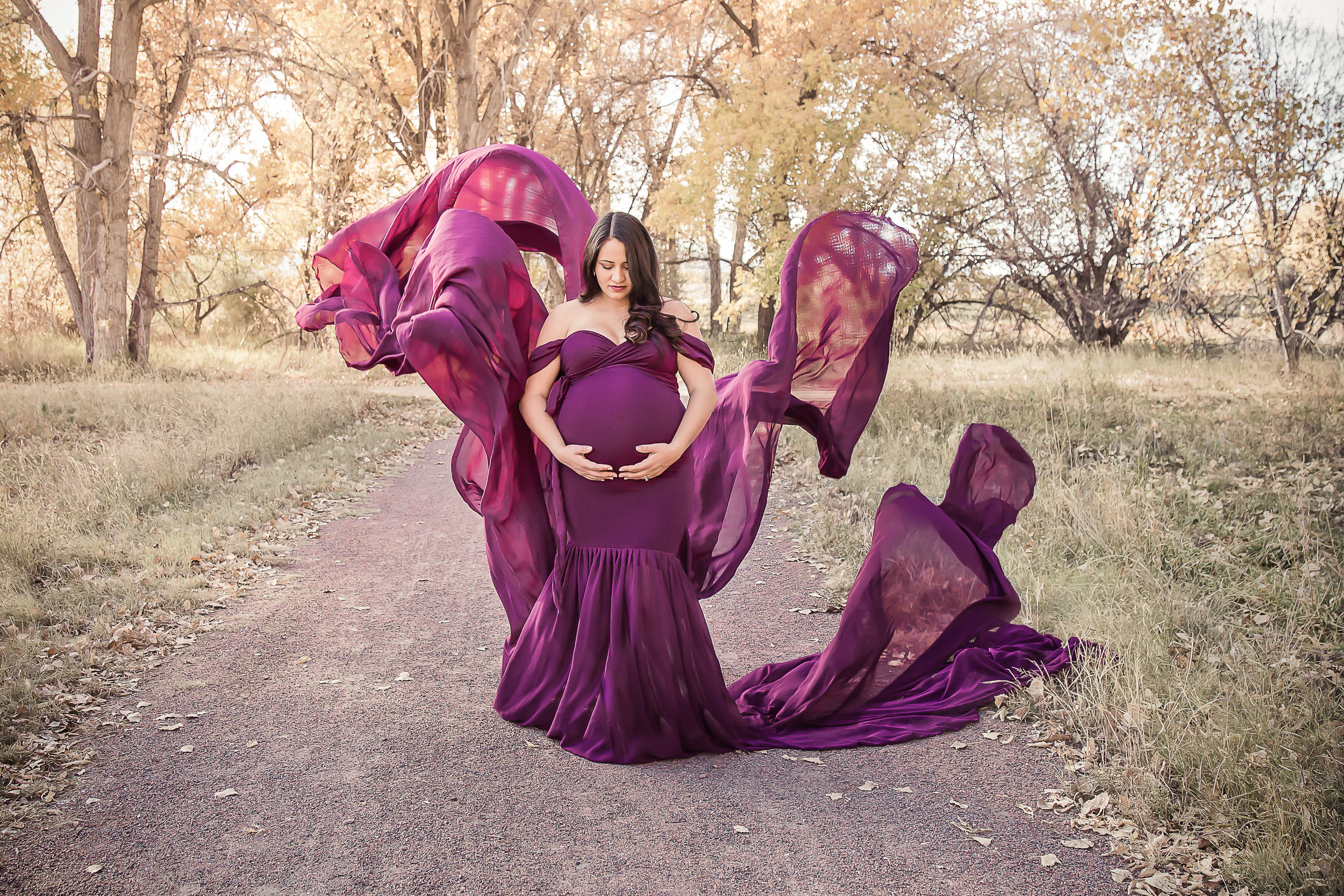 flowing maternity gown in the fall