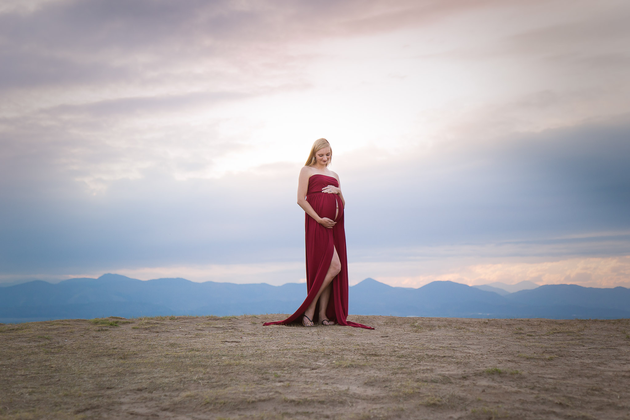 Stunning-Sunset-Maternity-Red-Gown-Littleton.jpg