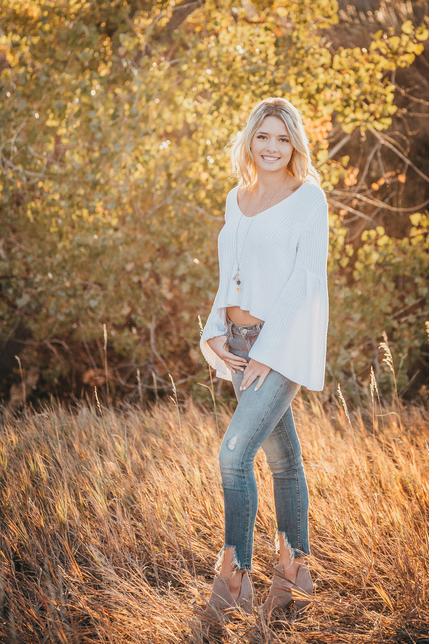 Denver senior photographer - fall golden light senior girl