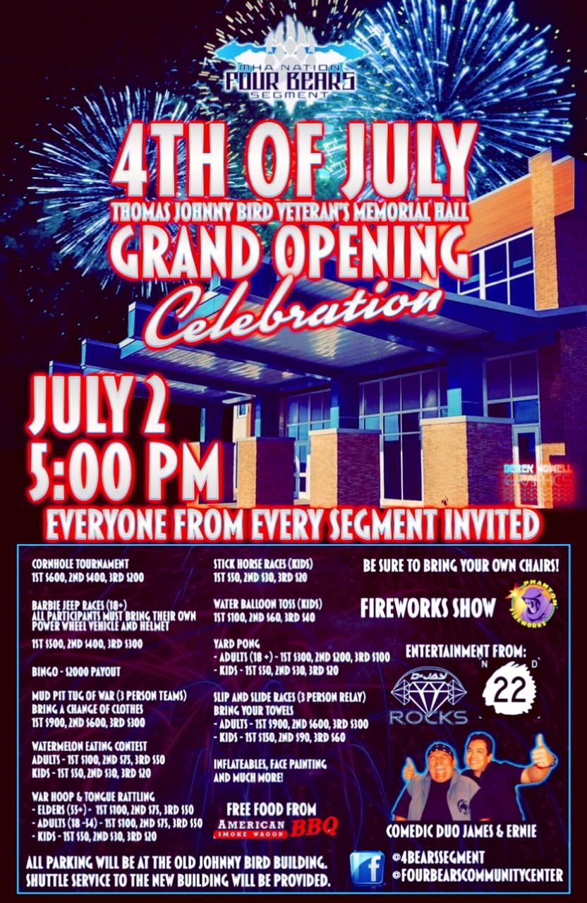 Four Bears Segment 4th of July Johnny Bird Memorial Hall Grand Opening July 2.jpg