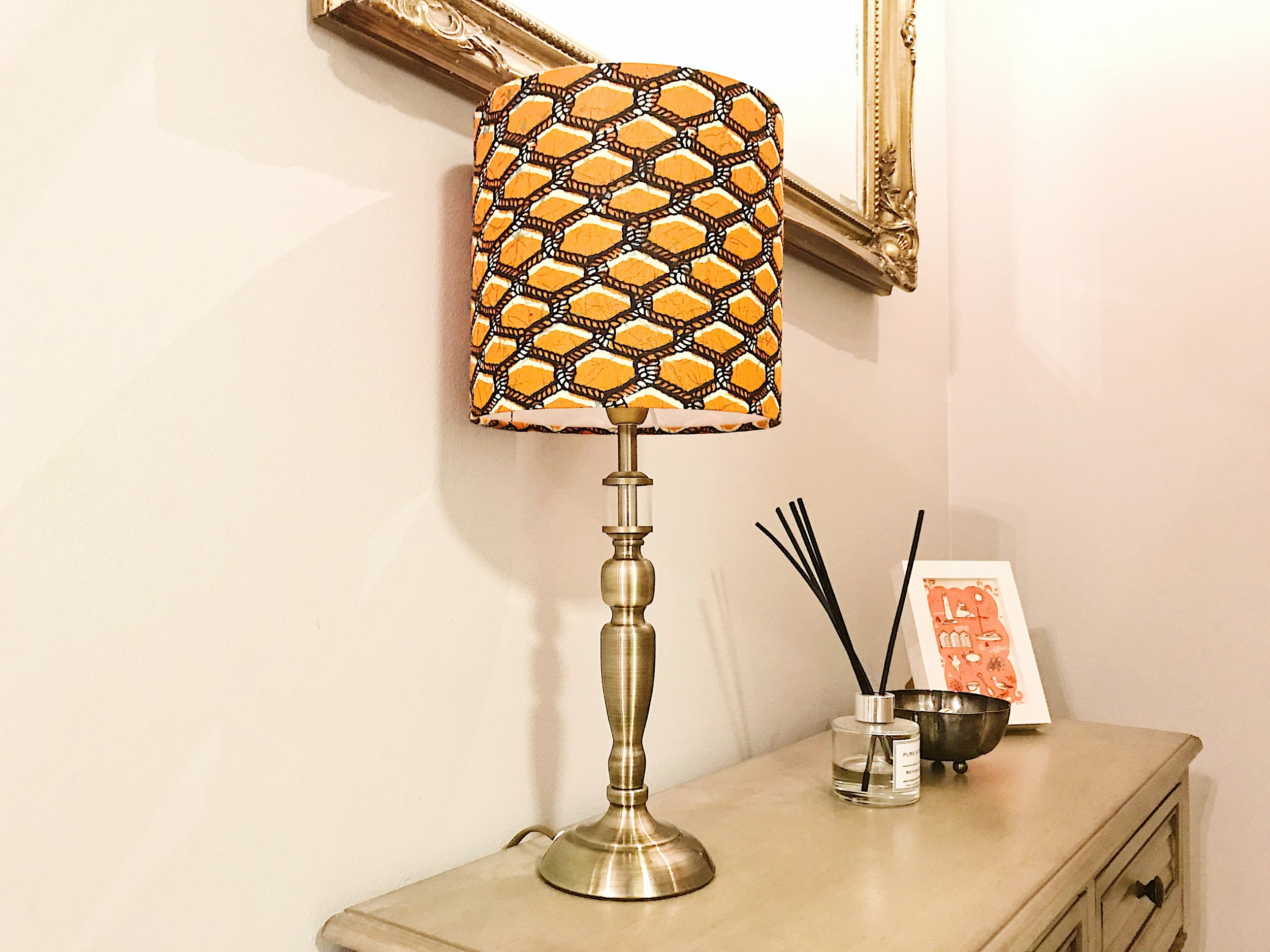 Detola and Geek's Ankara Lampshade in my home