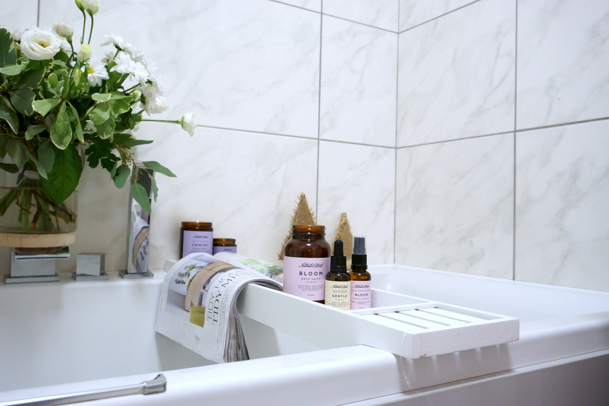 Taking a bath has been proven to uplift your mood. Here's my mood-enhancing bath set-up…