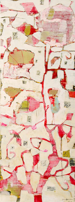 Reza Derakshani - Flower and Bird Series, Mixed Media on Canvas, 200x75cm, 2009, 28000 dollars.jpg