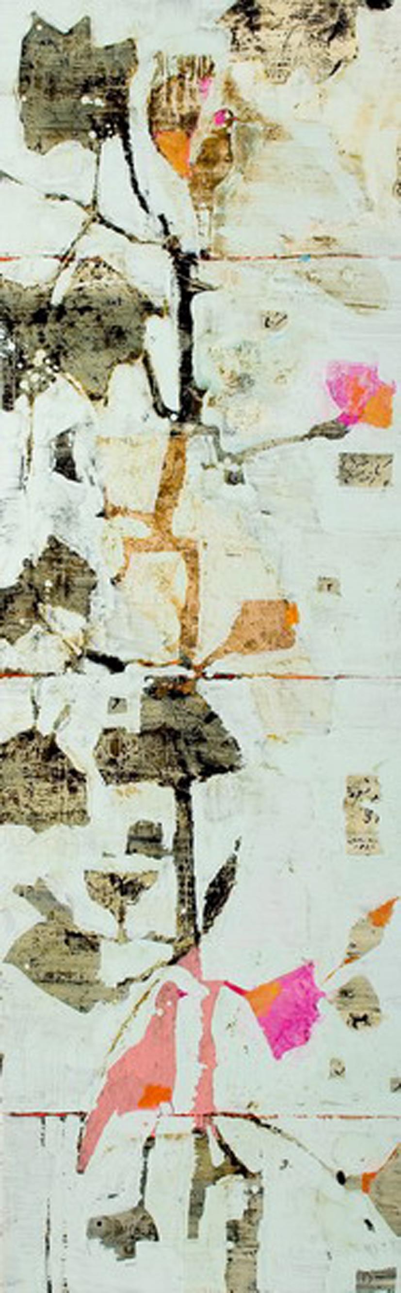 Reza Derakshani - Flower and Bird Series, Mixed Media on Canvas, 270x85cm, 2009, 35000 dollars.jpg