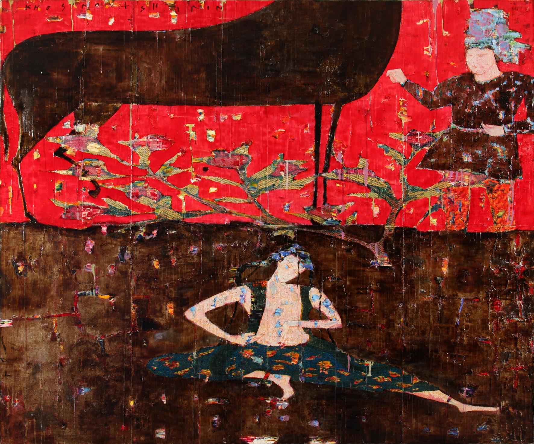 Reza Derakshani - Khosrow and Shirin Series, Mixed Media on Canvas, 150x180cm, 2009, 32000dollars.jpg