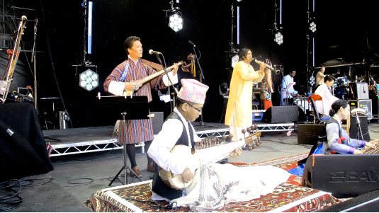 Sonam Dorji performing at a musical festival during the London Olympics, 2012