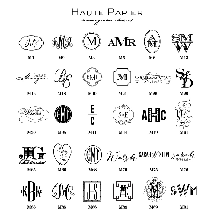 Monogram Choices