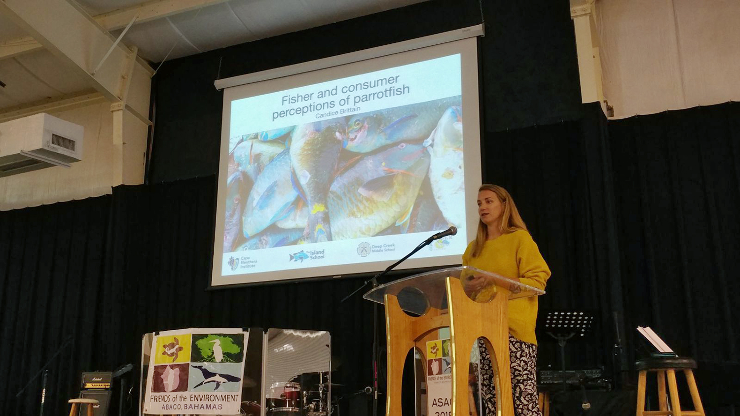 Candice Brittain talking about the importance of parrotfish conservation in The Bahamas.