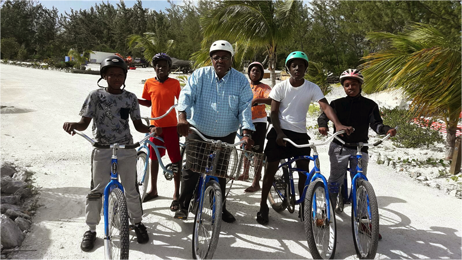 The Young Men's Leadership Program boys on a bike ride with Hon. Hank Johnson