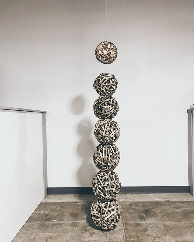 Recently completed 'Signal' 6ft 4in. - ⚪️⚪️⚪️⚪️⚪️⚪️ ⚪️ - Inspired by reimagining traditional lighting and questioning how we use natural resources to change our built environment. What is is essential to the objects we use and what increases their value through their visual aesthetic.