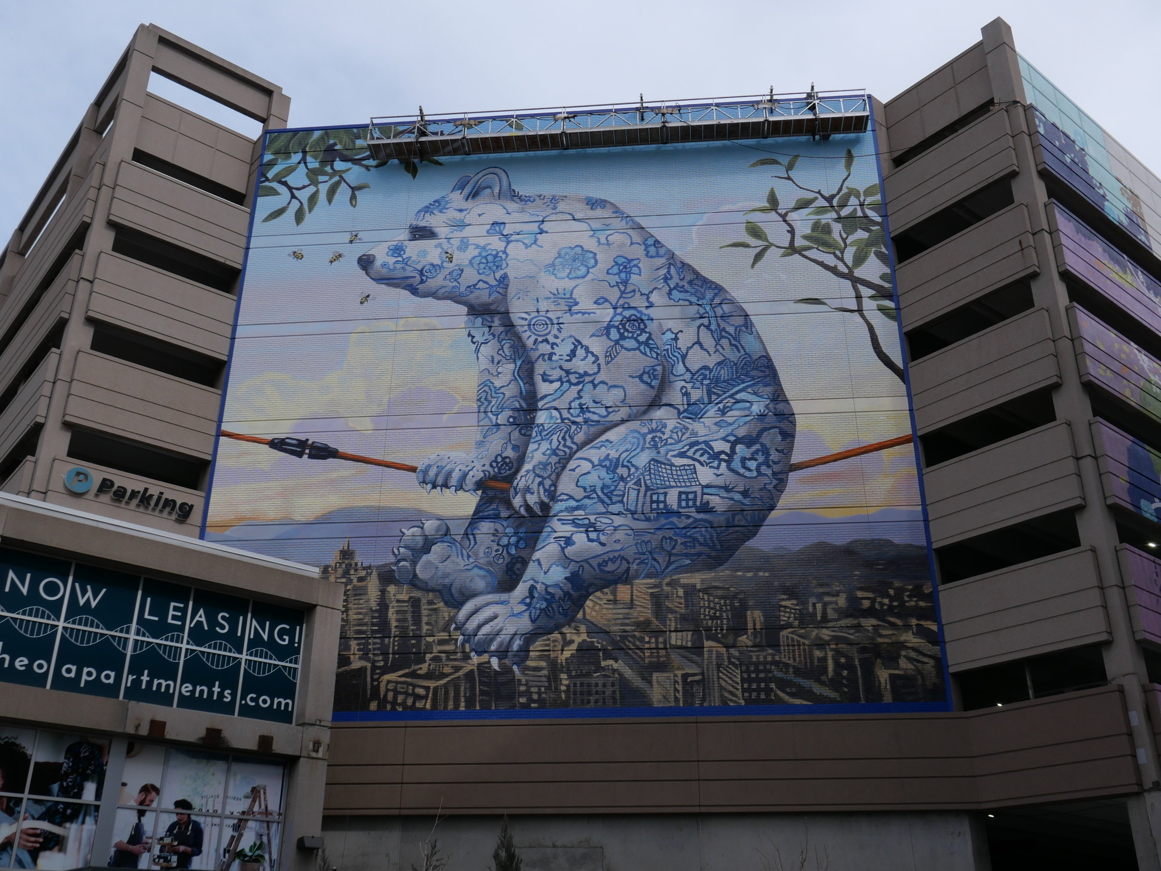Pictured: Denver painter, Kevin Sloan's original work enlarged by local mural painters for our client Continuum Partners' new development at 9th and Colorado in Denver. This is Sloan's first work of public art and largest work to date.