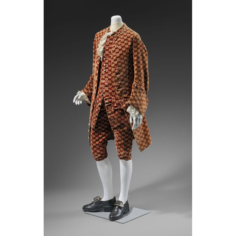 Man's waiscoat, breeches, and vest, about 1750. Silk polychrome velvet, brocaded. William Francis Warden Fund and funds donated by Doris May. Photograph © Museum of Fine Arts, Boston
