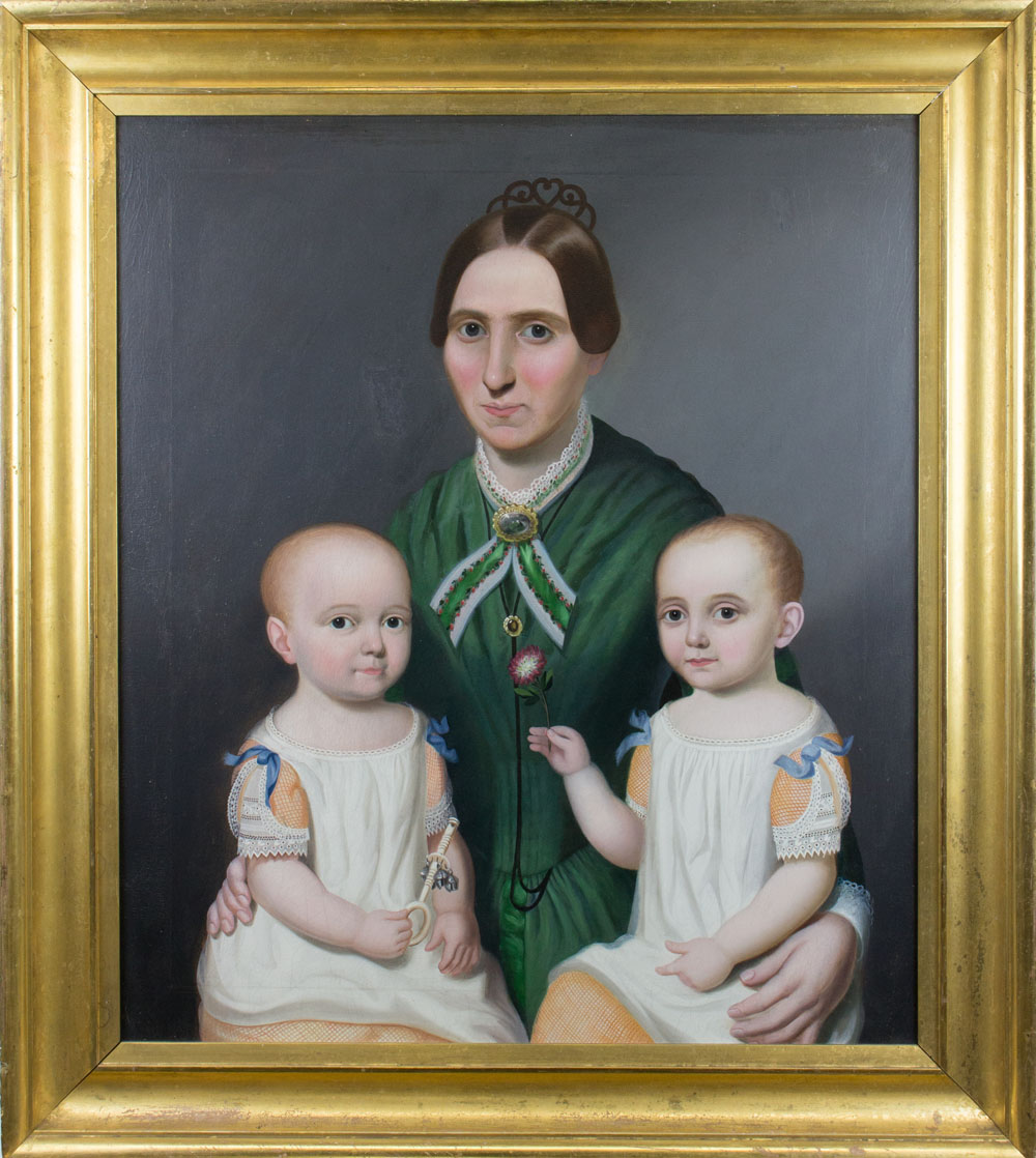 William Thompson Bartoll, Margaret Prentiss Allen with Twin Sons, James and Judson, 1850, oil on canvas.