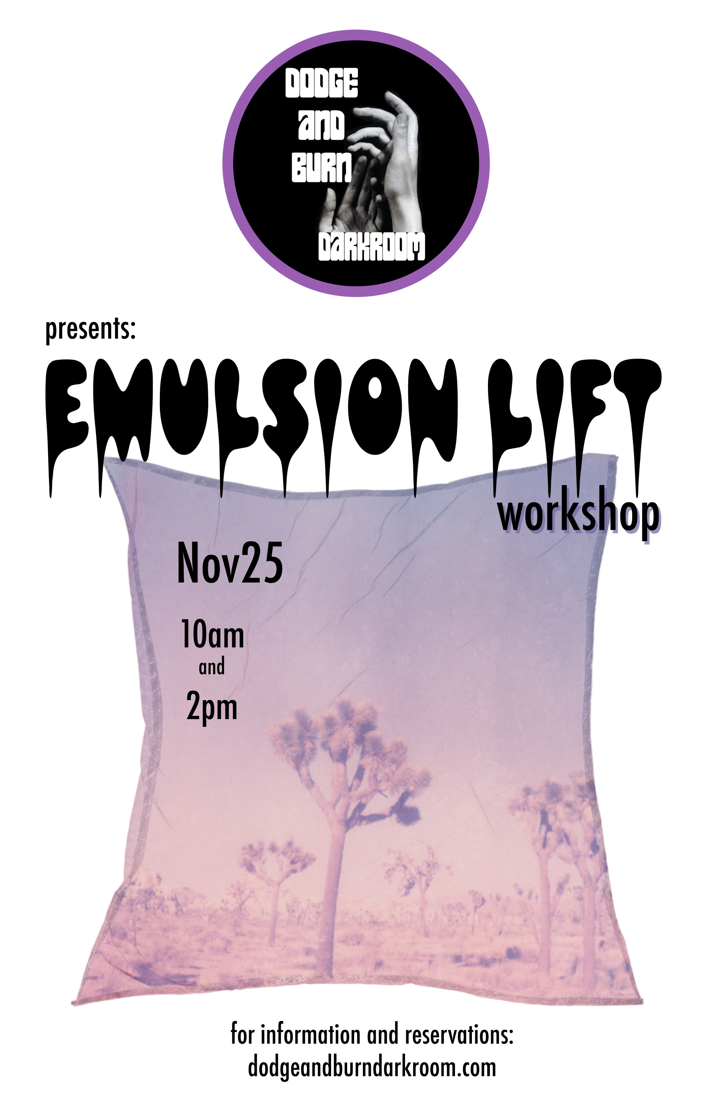 - November 25, 2018An emulsion lift (or emulsion transfer) is when the emulsion layer is removed from a sheet of instant film and then transferred to a different surface.Instructor: Carly ValentineLocation: Dodge and Burn DarkroomMaterials: 2 polaroids, paint brushes, scissors, watercolor paper. All materials will be provided.We'll meet at the darkroom and take a quick trip to shoot the images you'll use for the workshop. When we return we'll take the polaroids apart and begin the process of removing the emulsion. Your final images will be applied to the watercolor paper.Fee: $20SPACES ARE VERY LIMITED!