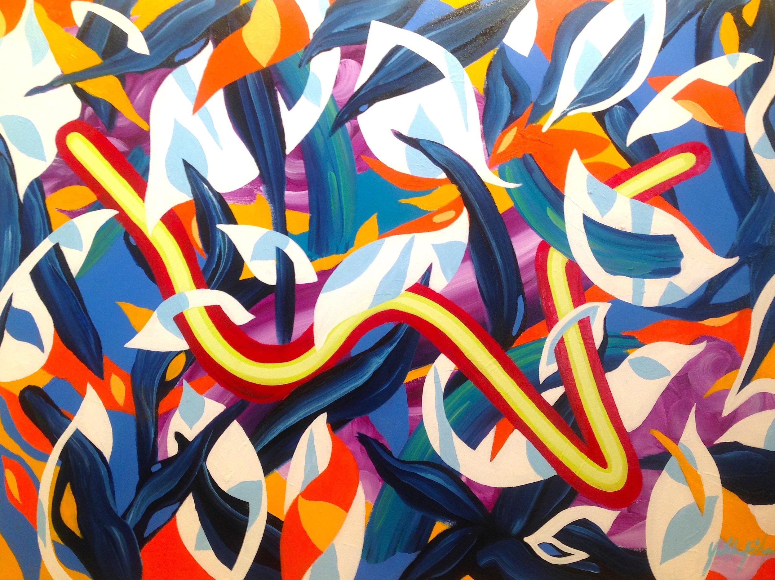"""GardenSnake""   30""x 40"" Oil on Canvas 2015"