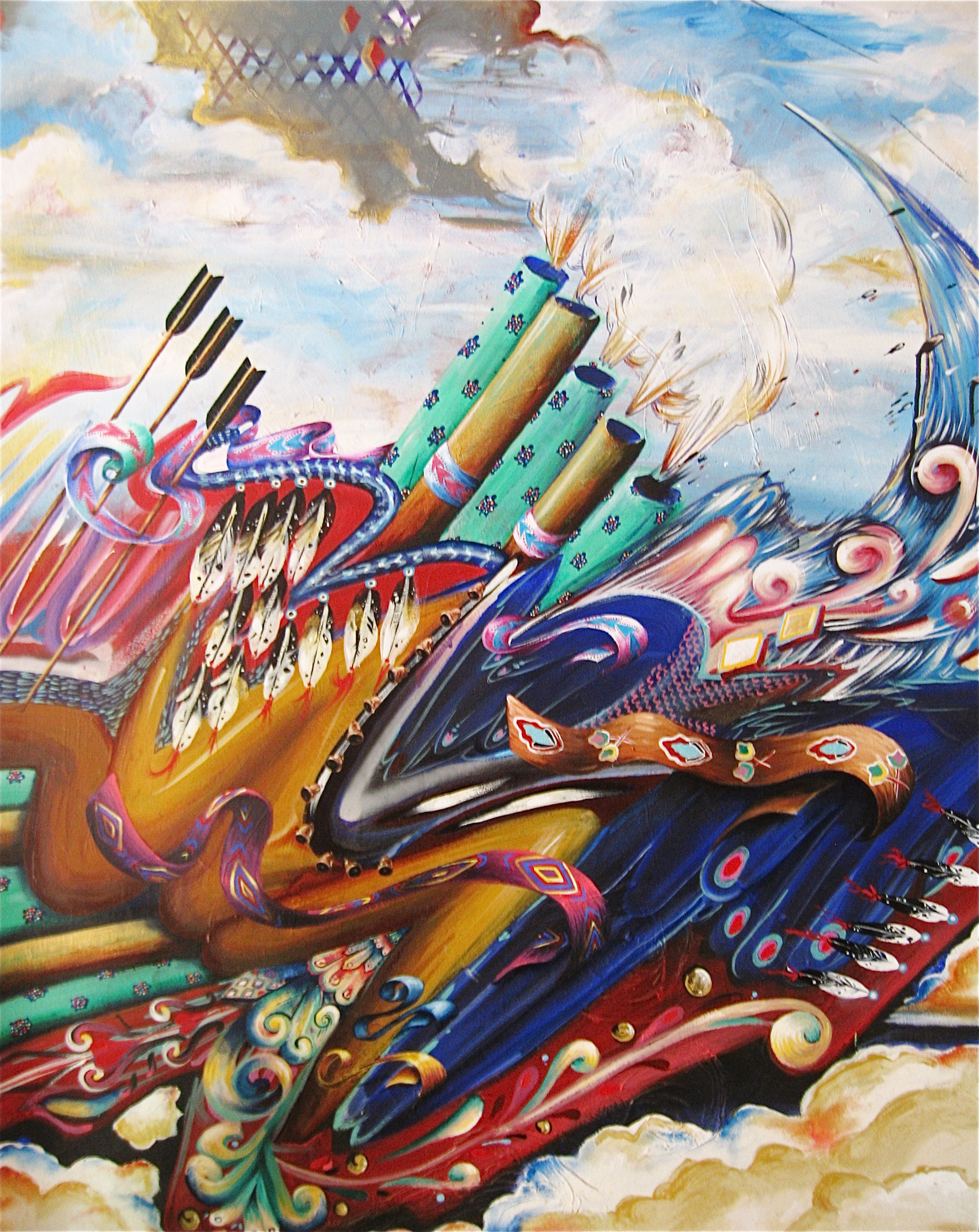 """WarParty"" 42""x 32"" Oil on Canvas 2007"