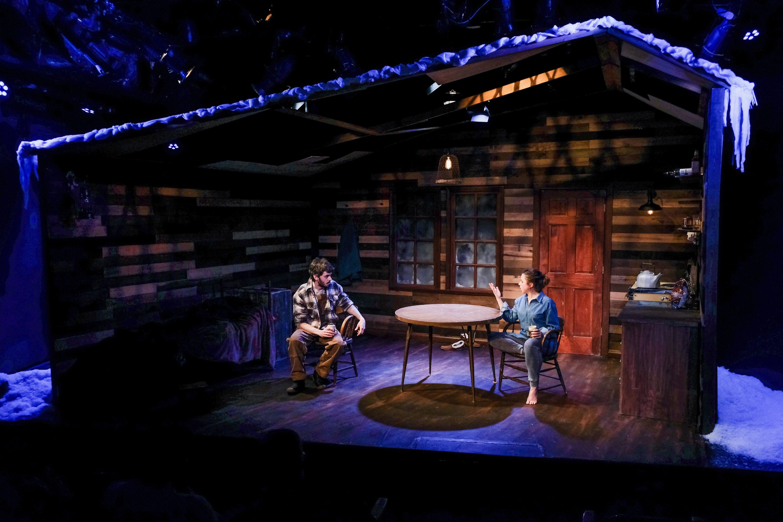 Brilliant Traces the Play by Cindy Lou Johnson presented by Art of Warr Productions starring Blake Merriman and Alyssa May Gold on set final dress rehearsal at table.jpg
