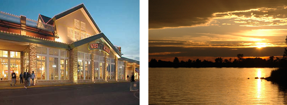 Exterior of West Acres Mall in Fargo, ND & sunset over a lake.