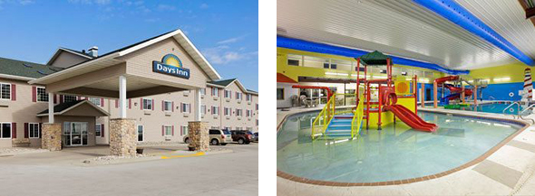 Exterior of Days Inn and Interior of Governors Inn Water Park