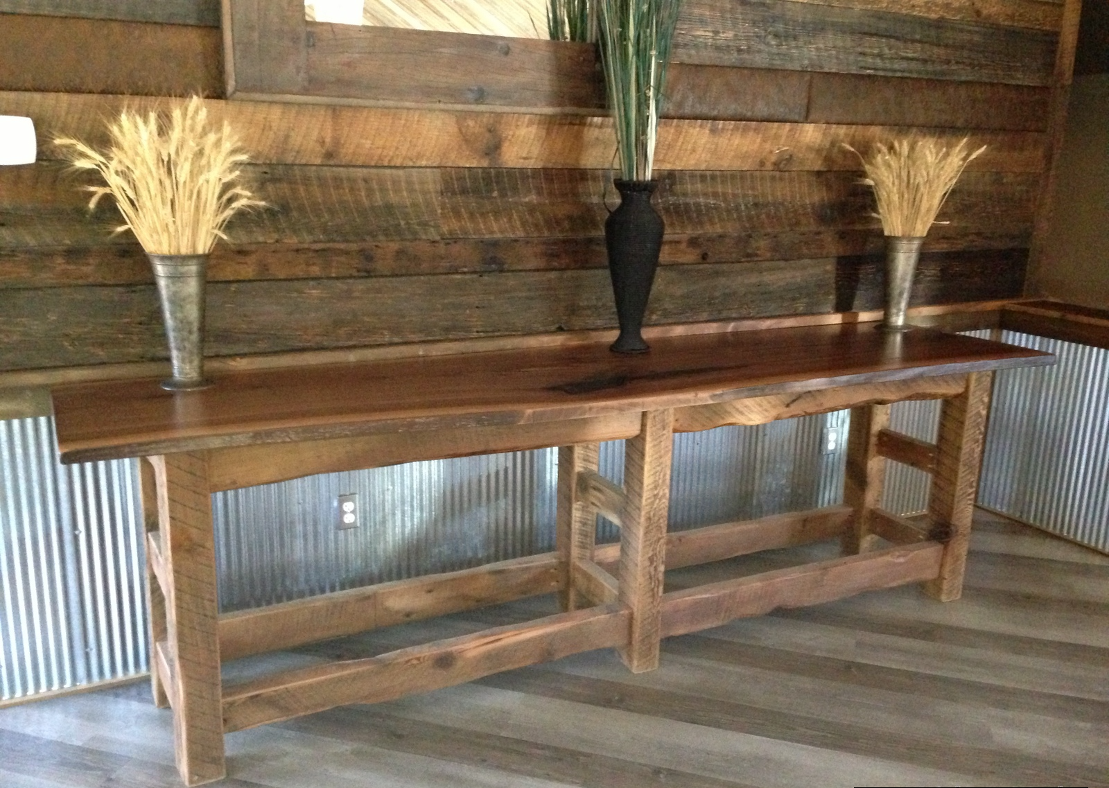 """Barn wood base with a walnut natural edge slab top serving table 18""""w x 95"""" l x 36"""" h approx."""