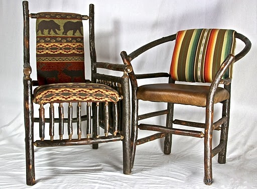 Hickory lodge chair on left. Hickory hoop chair on right