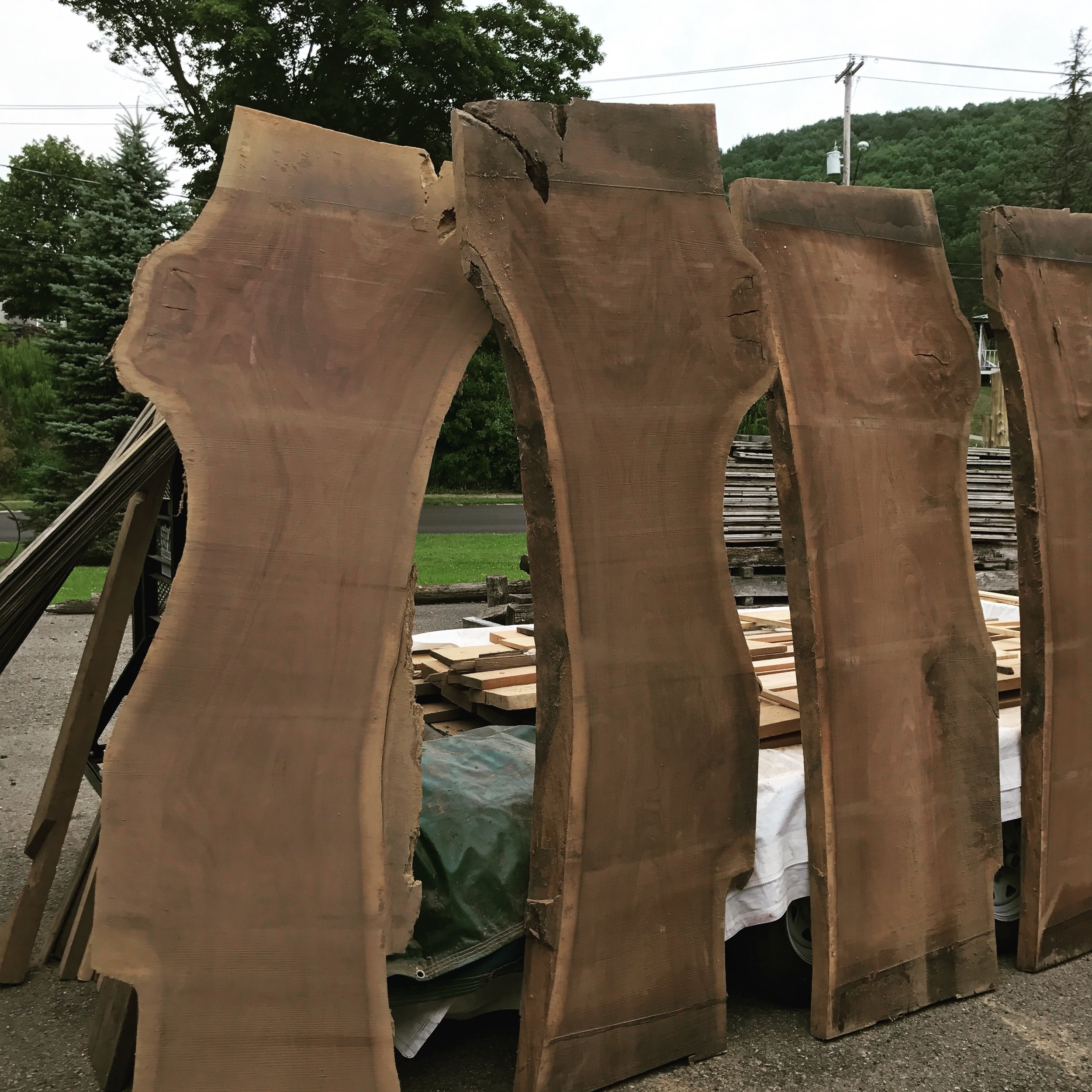 """Four consecutive 8/4 walnut slabs with figure. 96""""+ Long x 32"""" Width"""