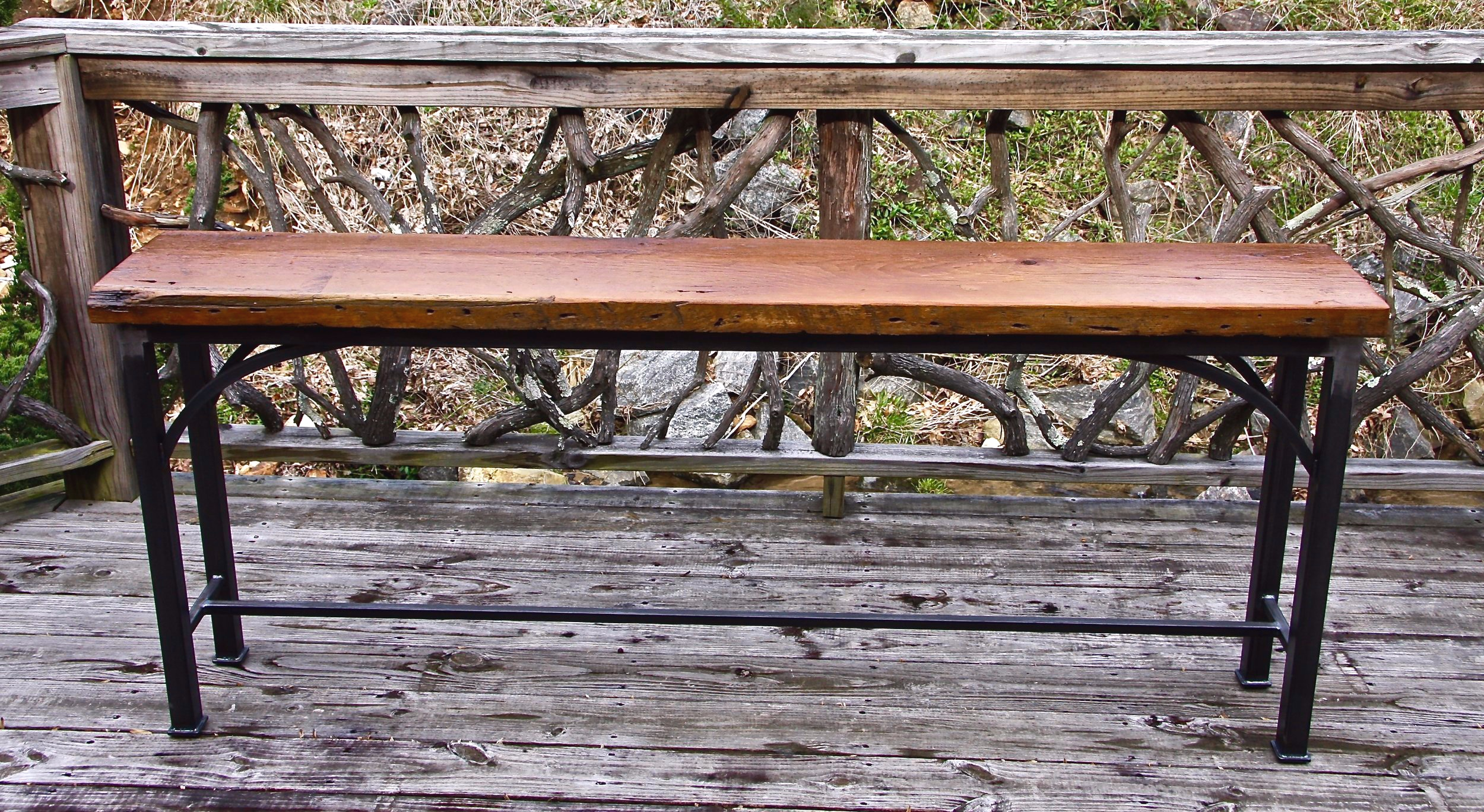 """""""The Kate"""" 72' long x 12' wide x 30"""" high reclaimed barn wood and raw steel."""