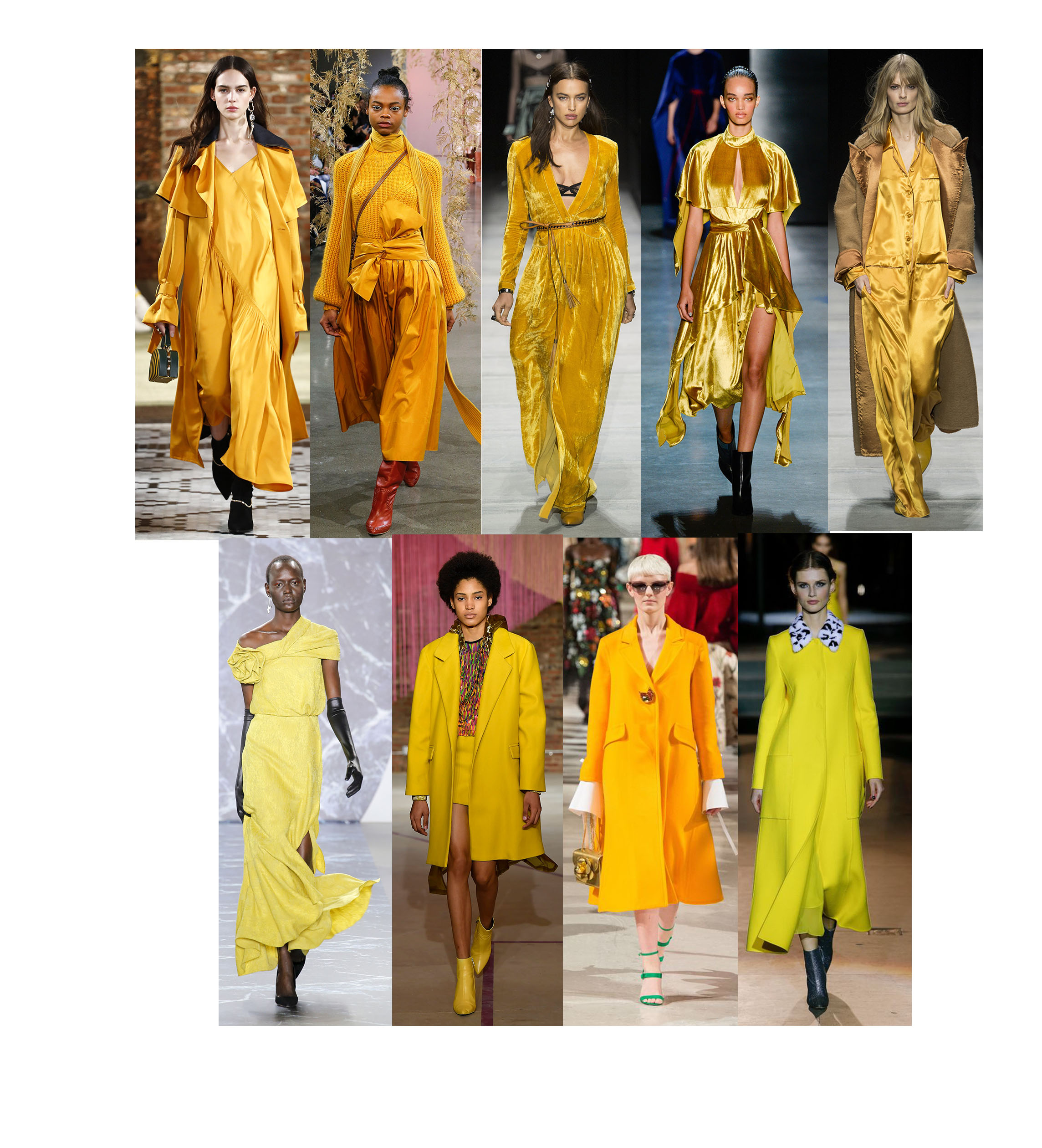 HELLO, SUNSHINE - Optimism was a major theme overall for the SS18 collections, and unsurprisingly, the color yellow seems to be making a major splash. Yellow symbolizes happiness, joy, enlightenment, clarity, positivity, creativity, sunshine and warmth; an appropriate combo of much-needed uplifting mood. ADEAM, Ulla Johnson, Bottega, Prabal Gurung, Bottega Venetta, Brandon Maxwell, Tibi, Oscar de la Renta, Carolina Herrera