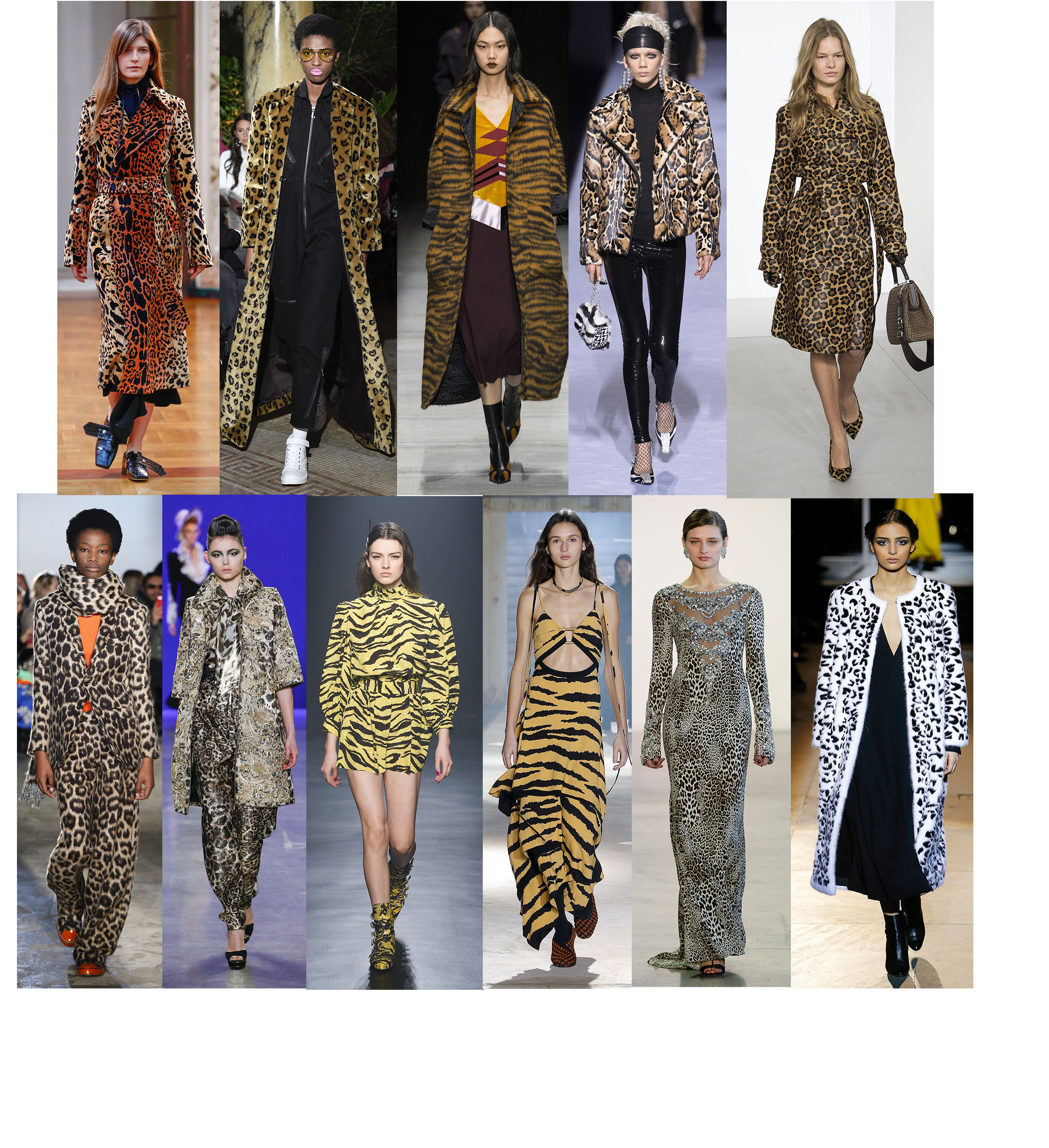 ANIMAL INSTINCTS - Animal print motifs are a recurring pattern that seems to make its way on the runway season after season. There is something truly timeless about leopard print. Cheetah and leopard first came into fashion in the 1930's, when the rich and famous embraced their extravagant lifestyles after the war, jetting off to exotic resort vacations. Emphasis on exotic: leopard was seen as a playful, whimsical embrace of the natural world and its beauty. At New York Fashion Week, leopard popped up everywhere, adding a playful appeal to otherwise structured and tailored silhouettes. But that's not the only wild feline designers are looking to for inspiration- tiger stripes appeared as well. Victoria Beckham, Juicy Couture, Bottega Veneta, Tom Ford, Michael Kors, R13, Naeem Khan, Zadig & Voltaire, Proenza Schouler, Badgley Mischka, Carolina Herrera