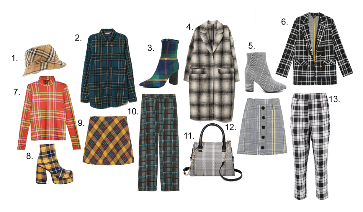 1. Burberry Vintage Check Bucket Hat, Neiman Marcus $130 2. H&M Checkered Shirt, $17.99 3. Jeffrey Campbell Siren Block Heel Boots, Shopbop, $125 4. H&M Knee-Length Coat, $69.99 5. Forever 21 Plaid Ankle Boots, $34.99 6. Topshop Jersey Double Breasted Blazer, $75 7. Topshop Slinky Funnel Top, $35 8. UNIF Stax Platform Boots, $148 9. Zara Plaid Mini Skirt, $49.90 10. Zara Plaid Pants, $34.90 11. Target Trapezoid Satchel, $29.99 12. Boohoo Prince Of Wales Button Mini, $14 13. Boohoo Woven Tapered Trousers, $42